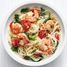 Angel-Hair Pasta with Shrimp and Greens