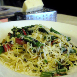 Angel Hair with Rainbow Chard, Green Beans, Mushrooms, and Sicilian Pecorin