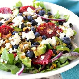 Antioxidant Rich Blood Orange Salad with Blueberries & Feta