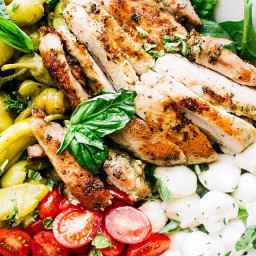 Antipasto Salad with Grilled Chicken and Basil Pesto Vinaigrette