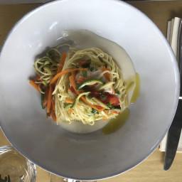 Antonella's Fresh Tagliolini with Parmesan Cheese Cream & Fresh Vegetables