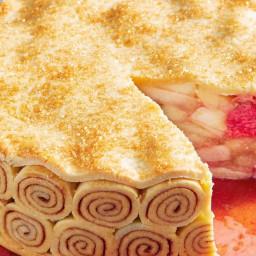 Apple and rhubarb high pie