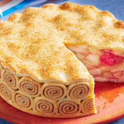 Apple and rhubarb high pie
