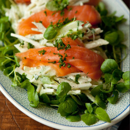 Apple celeriac remoulade on watercress topped with salmon