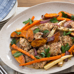 Apple Cider-Glazed Chickenwith Roasted Parsnip, Carrots and Baby Sweet Pota