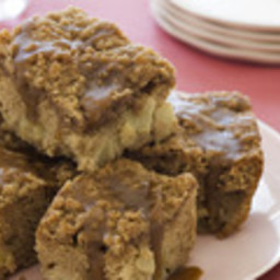 Apple Coffee Cake with Crumble Topping and Brown Sugar Glaze