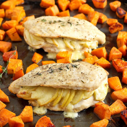 Apple Gouda Stuffed Chicken Breasts with Smoky Roasted Sweet Potatoes (VIDE