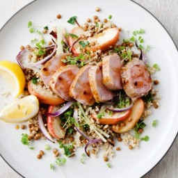 Apple, quinoa and lentil salad with maple pork