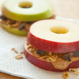 Apple Sandwiches with Granola & Peanut Butter