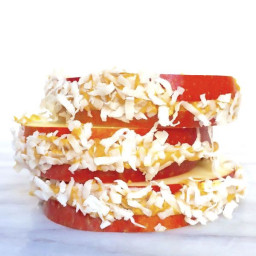 Apple Sandwiches with Peanut Butter and Shredded Coconut