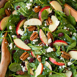 Apple Pecan Feta Spinach Salad