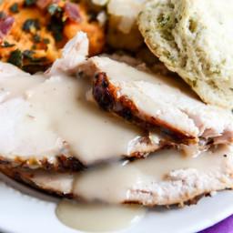 Applewood Smoked Turkey Breast with Cider Bourbon Gravy