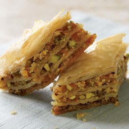 Apricot and Pistachio Baklava with Orange-Cardamom Syrup