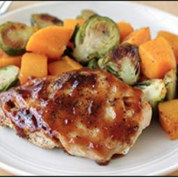 Apricot Chicken with Squash & Brussels Sprouts