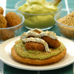 Arepas Topped with Hummus & Falafel