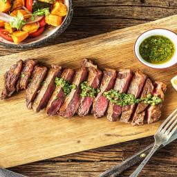 Argentine Chimichurri Steak with a Sweet Potato, Poblano, and Tomato Jumble