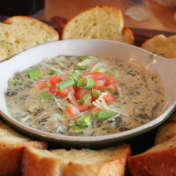 Artichoke Dip with Garlic Bread Rounds