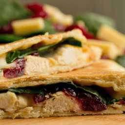 Arugula, Chicken, Cranberry and Spinach Pocket Sandwiches