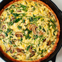 Arugula Cremini Quiche with Gluten-Free Almond Meal Crust