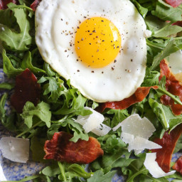 Arugula Salad with Crispy Proscuitto, Parmesan and Fried Eggs