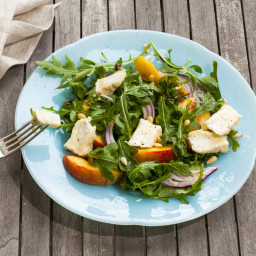 Arugula Salad with Peaches, Pine Nuts and Goat Camembert or Brie