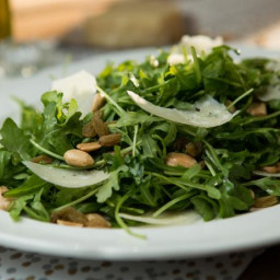 Arugula Salad with White Truffle Oil, Marcona Almonds and Shaved Parmesan