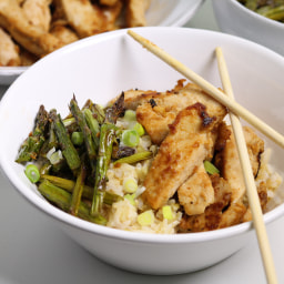 Asain Style Peanut Chicken Bowls with Roasted Asparagus and Brown Rice