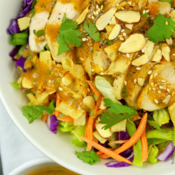 Asian Chicken Salad with a Spicy Peanut Dressing