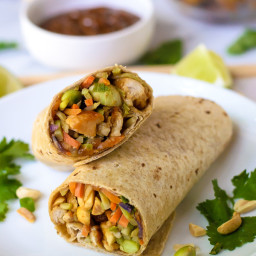 Asian Chicken Wraps with Thai Peanut Sauce