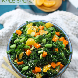 Asian Chopped Kale Salad with Miso Sesame Dressing