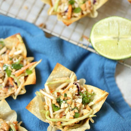 Asian Coleslaw with Thai Peanut Dressing in Wonton Cups