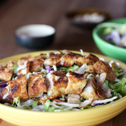 Asian Fried Chicken Salad with Sesame Mustard Dressing