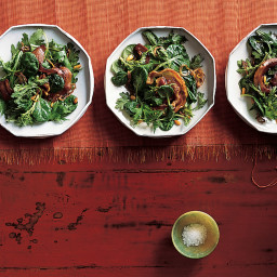 Asian Salad Greens with Pine Nuts and Pancetta