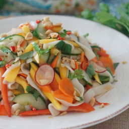 Asian Shirataki Noodles with Low Carb Mango and Pickled Vegetable Salad