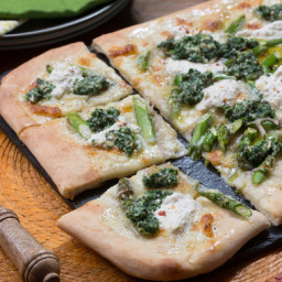 Asparagus and Arugula Pesto Pizzawith Pink Lemon Ricotta