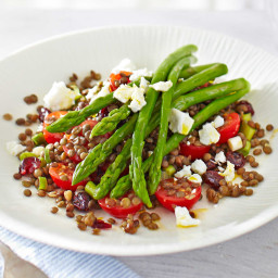 Asparagus and lentil salad with cranberries and crumbled feta
