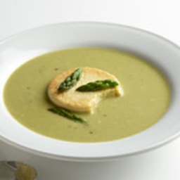 Asparagus and Spinach Soup with Roasted Garlic Custards