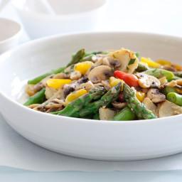 Asparagus, Artichoke, and Mushroom Saute with Tarragon Vinaigrette