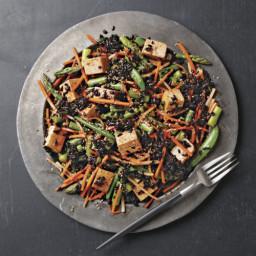 Asparagus, Snap Pea, and Black Rice Salad with Gochujang Dressing
