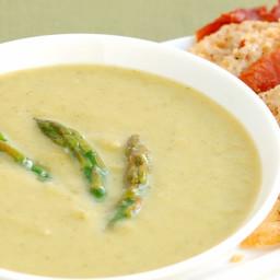 Asparagus Soup with Parmesan and Prosciutto Crisps