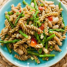 Asparagus, White Bean Pesto Pasta