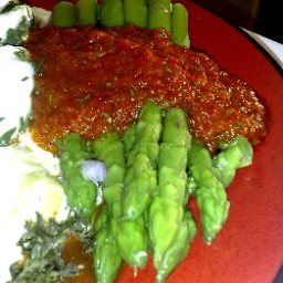 Asparagus with Red Pepper Sauce