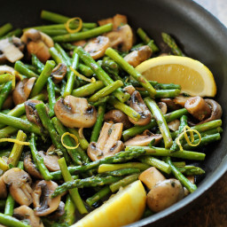 Asparagus and Mushrooms in Lemon Thyme Butter