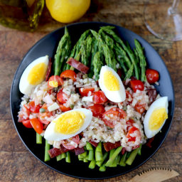 Asparagus and Turkey Bacon Salad with Catalan Dressing