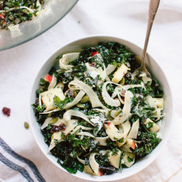 Autumn Kale Salad with Fennel, Honeycrisp and Goat Cheese