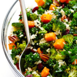 Autumn Kale Salad with Sweet Potatoes, Broccoli and Brown Rice