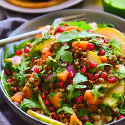 Autumn Lentil Salad with Chickpea Pancakes