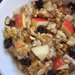 autumn fruit and nut oatmeal