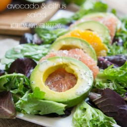Avocado and Citrus Salad with Creamy Lime Poppy Seed Dressing