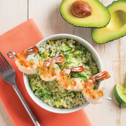 Avocado Lime Rice with Grilled Shrimp